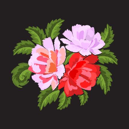 Floral patch sticker geborduurd geïsoleerd op zwarte achtergrond. Rode en roze bloemen, pioenrozen, rozen. Borduurmotieven. Vector illustratie