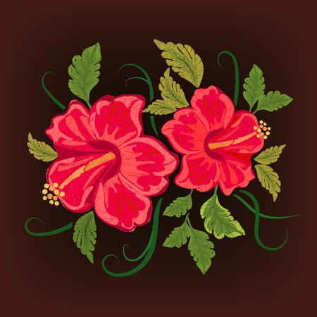 Hawaii symbool hibiscus borduurwerk.