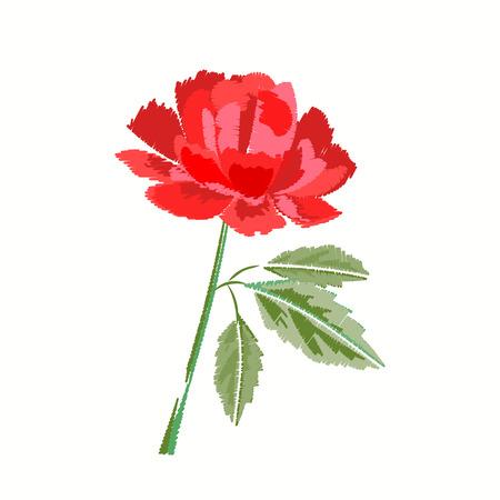 Rood nam borduurwerk op wit toe. Bloemen geborduurd patroon voor stof Patch illustratie