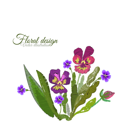 Pansies embroidered. Flowers Embroidery on white background. Floral Pattern. Ornamental Fashion print. Traditional Folk Decoration for Fabric. Ethnic Satin stitch imitation. Vector illustration