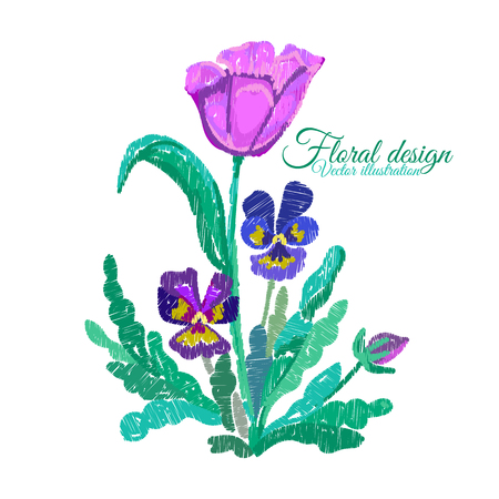 Tulip and Pansies embroidered. Flowers Embroidery on white background. Floral Pattern. Ornamental Fashion print. Traditional Folk Decoration for Fabric. Vector illustration Illustration