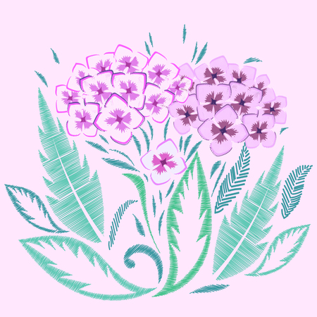 Hydrangea embroidered. Flowers Embroidery on pink background. Simple Floral Pattern. Ornamental Fashion print. Traditional Folk Decoration for Fabric. Vector illustration