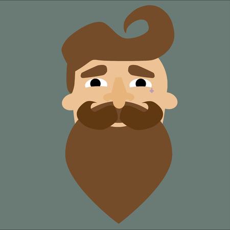 beard man: isolate illustration of beard man Illustration