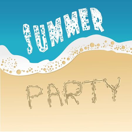 drink at the beach: vector illustration of poster summer party Stock Photo