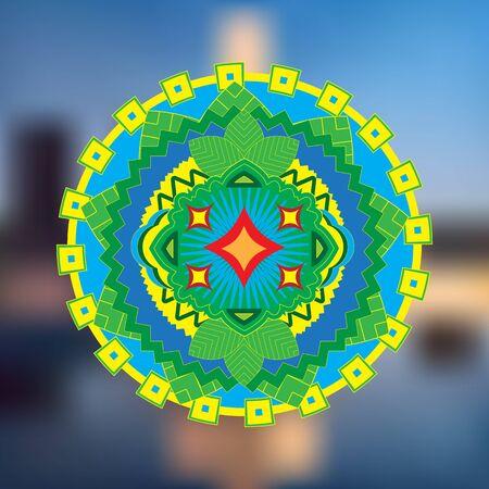 manipura: vector illustration abstract india icon Illustration