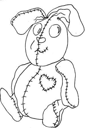 uncolored: Uncolored stuffed rabbit Stock Photo