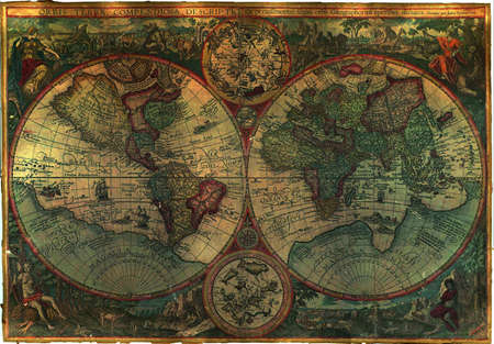 Oude Royalty Free Standaard World Map