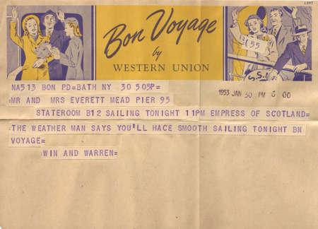 telegrama: Antique Auténtico Telegrama Libro Foto de archivo