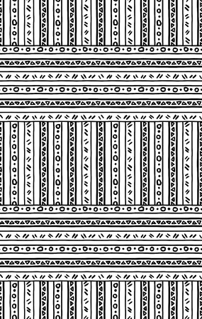 Seamless pattern with lines and dots, triangle, black and white tribal Navajo, Aztec geometric print, ethnic hipster backdrop