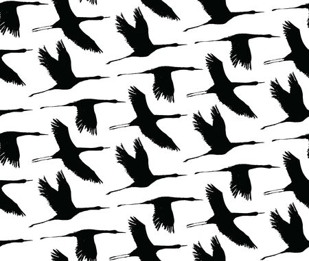 Vector seamless pattern with silhouette of storks bird flying. Black and white. Seamless with birds flying. Pattern for fabric, baby clothes, background, textile, wrapping paper and other decoration.