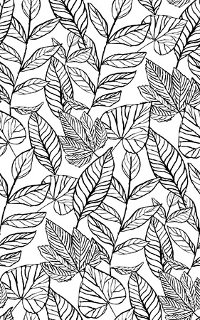 Tropical seamless foliage pattern, hand-drawn black and white assorted leaves plants with vines on white background, vintage theme, botanical backdrop, wallpaper, summer, spring Banque d'images - 123825279