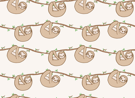 Seamless tropical pattern with funny sloths hanging on the tree includes cute expressions. Adorable cartoon animal background. Vector rainforest set of cute sloths, branches leaves - Vector
