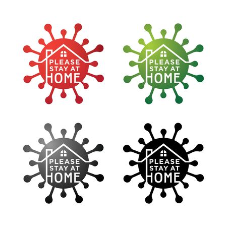 Please stay at home flat vector icon for apps and websites. Illustration