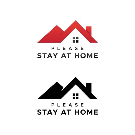 Please stay at home. Let's stay home. Stay home stay safe flat vector icon for apps and websites.