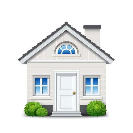 geïsoleerde witte huis met open haard en planten