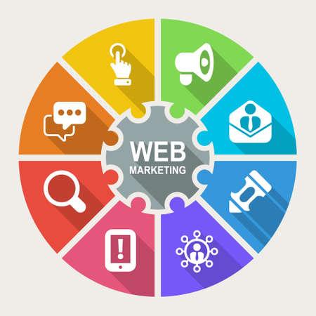 Infographic over web marketing, pictogrammen platte kleurrijke