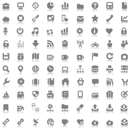 gray icons set for web and mobile with reflex Illusztráció