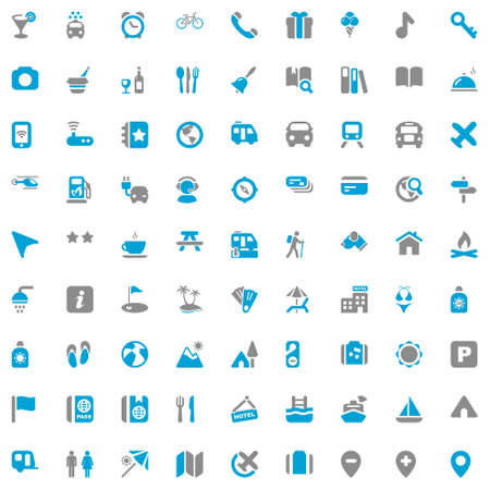 icons set for travel, vacation and hotels  blue   gray colors
