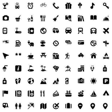 pictogrammen voor reizen, vakantie en hotels zwarte kleur