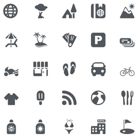 travel gray icons set  Vector
