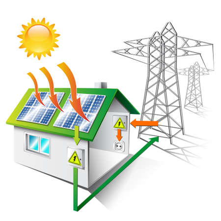 panels: illustration of a house equipped for sale and use solar energy, isolated Illustration