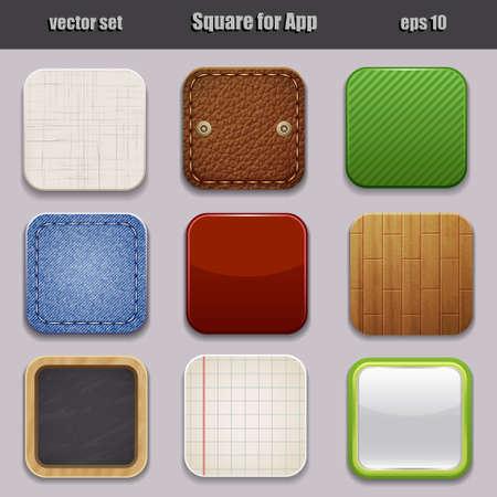 응용 프로그램에 대해 서로 다른 질감과 색깔의 사각형, 일러스트