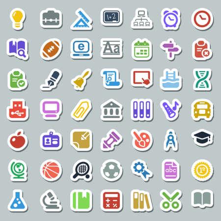 Conjunto de la educación y de la escuela de iconos, etiqueta engomada colorida Foto de archivo - 26001961