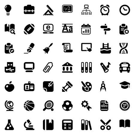 set of education and school icons, in black Vector