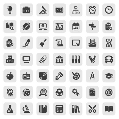 school computer: set of education and school icons, in black Illustration