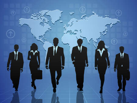 business team on blue background with world map