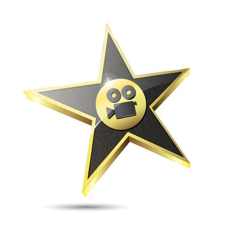 isolated gold star with film camera icon Vector
