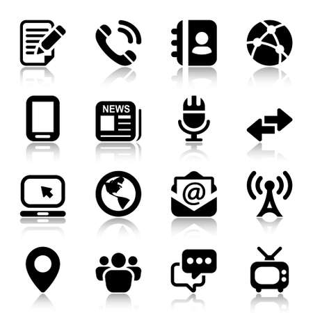 media & Communication icons set. black color with reflex