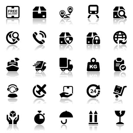 set of icons isolated for logistics in black with reflex Vettoriali