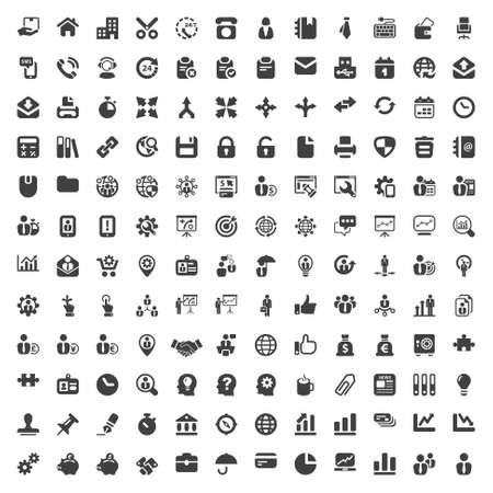 set of isolated icons for business and office black