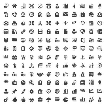 set van geïsoleerde pictogrammen voor business en office zwart Stock Illustratie