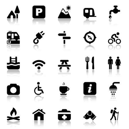 pictogrammen in zwart voor in het veld en kamperen met reflex Stock Illustratie
