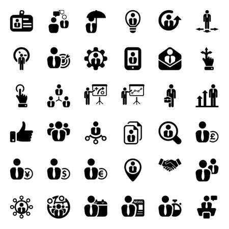 set of business people icons in black Vector