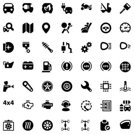 set of icons for the car industry and tranport
