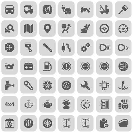 onderhoud auto: set van iconen voor de auto-industrie en tranport