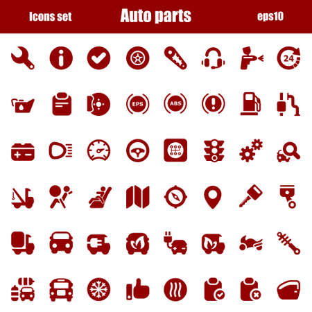 car spare parts: Red icons set for industry and automobile trade