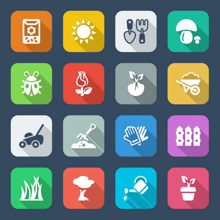 colorful icons set for gardening   agriculture, isolated with shadow