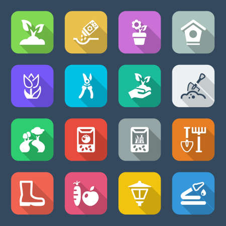 flat colorful icons set for gardening   agriculture, isolated with shadow