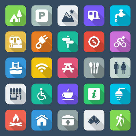 flat colorful icons set for field and camping with shadow Vector