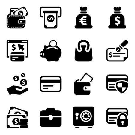 zwart geld pictogrammen set, voor zaken en financiën