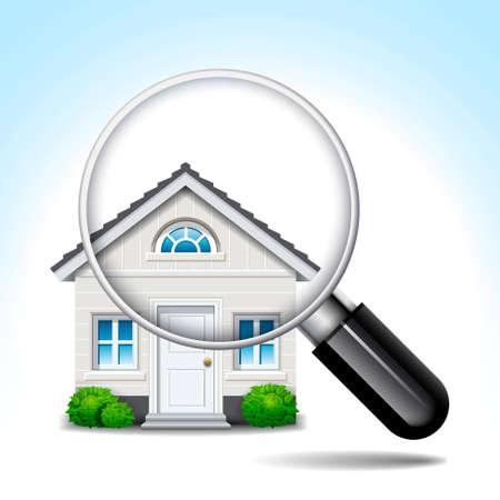 housing search: lente di ingrandimento casa bianca isolata in primo piano
