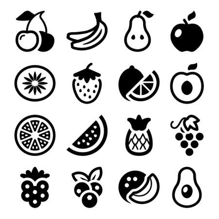 black cherry: flat fruits icons set  isolated  black color