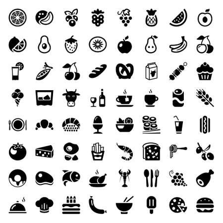 Set van iconen met voedsel en dranken voor restaurant of commerciële. zwarte kleur