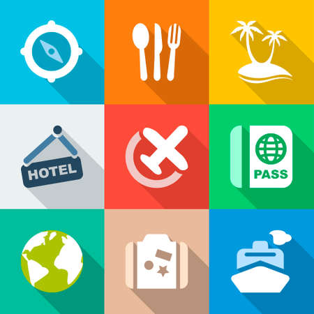 travel backgrounds: colorful icons travel  backgrounds for business, travel and vacations