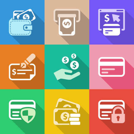 bank transfer: colorful money icons set, for business and finance