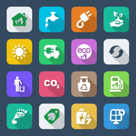 set of icons for ecology and environmental industry  with shadow